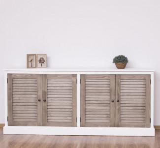 Bufet din 2 cabinete identice Colectia Shutter, cu blat din brad - Culoare Corp_P004 - Culoare Usi_P037 - DUBLU COLOR